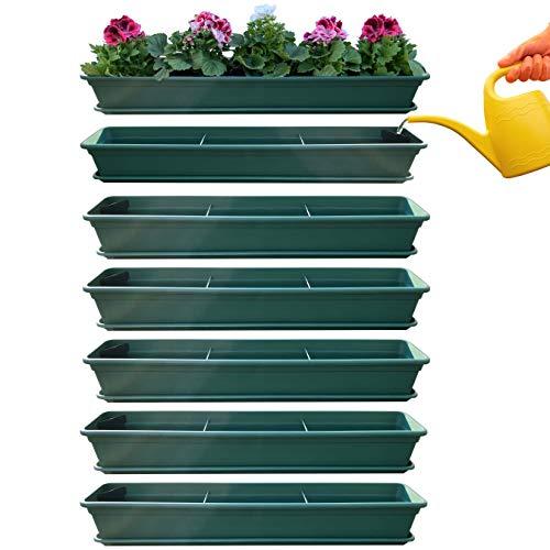 Juego de 6 jardineras para balcón con sistema de riego y platillo de 80 cm, color verde