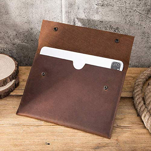 FANG Portfolio Sleeve Case for 2020 IPad Pro 11-inch, Handmade Vintage Crazy Horse Leather Portfolio, Deep Brown Business Organizer for Man and Women,3