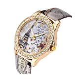 Women's Wrist Watch Vintage Paris Eiffel Tower Crystal Leather Quartz Wristwatch Best Gift (Gray)