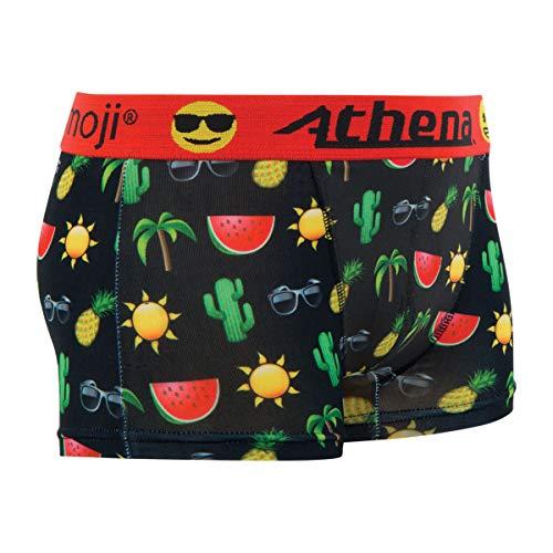 ATHENA Emoji Watermelon Lustige Herren Boxershort Unterhose Motiv im Emoji Look mit hohem Geschenkidee, Scherzartikel zu Weihnachten oder Geburtstag (L)