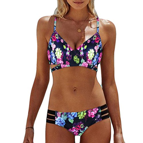 OVERDOSE Frauen Böhmen Push-Up Bikini Sets Gepolsterte BH Beach Damen Badeanzug Bademode Swimsuit Swimwear(Multicolor,XL