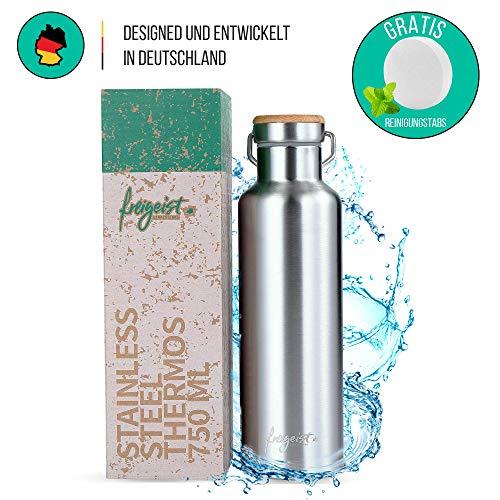freigeist Edelstahl Trinkflasche/Thermosflasche 750 ml | Isolier-Flasche, Doppelwandig, BPA frei, Auslaufsicher & Kohlensäure geeignet | Wasserflasche Spülmaschinenfest - Für Outdoor, Wandern, Sport