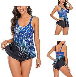 Dark Blue Feather Sequins Print Tankini Swimwear