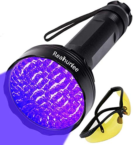 UV Black Light Flashlight, Super Bright 100 LED Pet Dog Cat Urine Detector light Flashlight for Pet Urine Stains, Professional Blacklight Flashlight with UV Sunglasses for Scorpions Hunting