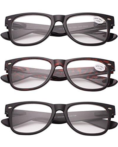 VEVESMUNDO 3x Herren Damen Lesebrillen Sehstärke Sehhilfe Augenoptik Brillen Augen (3.0, drei Stück drei Frben)