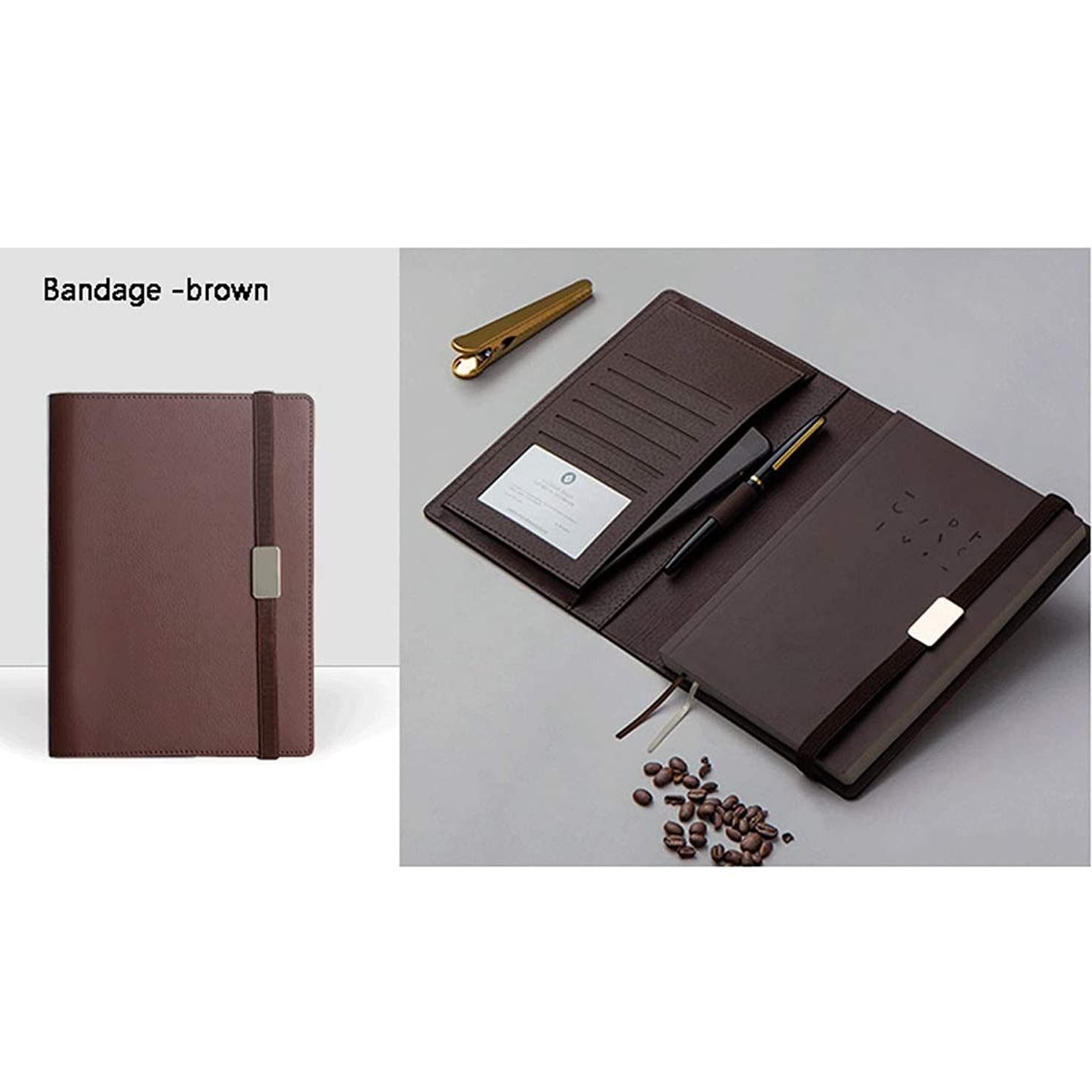 メモ帳 レザーポケットノート、詰め替え可能なトラベルジャーナル、ライティングに最適、ギフト、旅行者、日記やオーガナイザーとして、A5 ノート (Color : Bandage - brown)