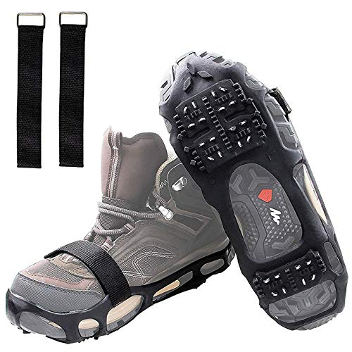 Shaddock Fishing Ice Cleats for Shoes and Boots, Ice Snow Traction Cleats Crampons for Men Women Kids Winter Walking on Ice and Snow Anti Slip Overshoe Stretch Footwear (Size L)