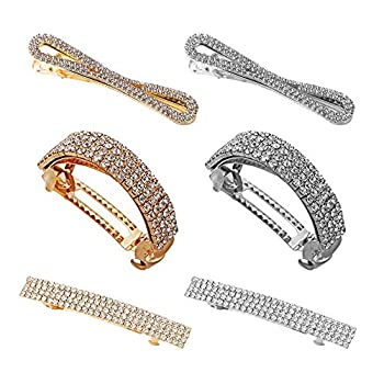 Mendom 6 Pcs Shining Rhinestone Hair Clips Ponytail Holder Metal Spring Hair Clips Barrette Accessories for Women Girl Gold and Silver