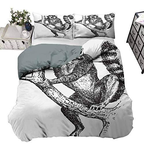 Funda de edredón con diseño de animales exóticos y animales salvajes tropicales de alta calidad, resistente al encogimiento y a la decoloración, fácil cuidado, color negro, blanco, Queen, 230 x 230 cm