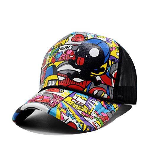 ZHENGBINGF Gorra de béisbol de Mujer Snapback Casquette Sombrero de Dibujos Animados para Hombres Protector Solar de Hueso Moda Gorras Casual Hip-Hop 5 Panel Sombrero de Sol, Rojo