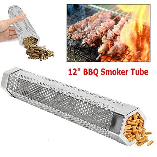 FYHCC Tube de fumée en granulés de Bois 30,5 cm - Barbecue à Fumer Chaud/Froid - Générateur de fumée pour Ajouter de la saveur à Tous Les Aliments grillés.
