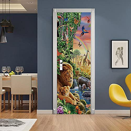 3D deurstickers, rivier, regenboog, dieren, moderne kunst deur muurschildering sticker, waterdichte zelfklevende muur…