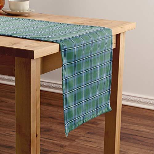 CICIDI Clan Irvine - Camino de mesa corto, diseño de tartán escocesa, color azul y verde, para fiestas, cenas, vacaciones, cocina, 13 x 70 pulgadas
