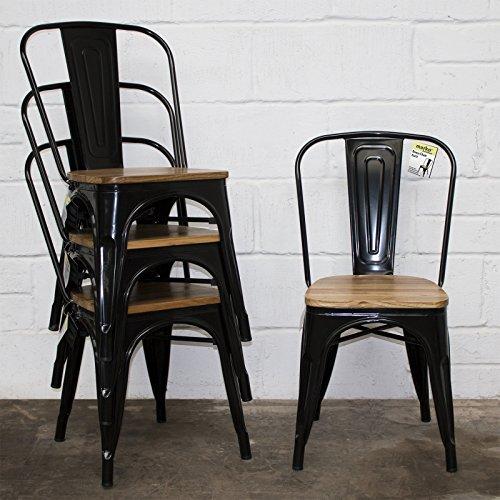 Marko Furniture Set von 4 Stühlen, Industrie-Design, Esszimmer, Küche, Bistro, Cafe, Vintage, Sitzfläche aus Holz,Schwarz