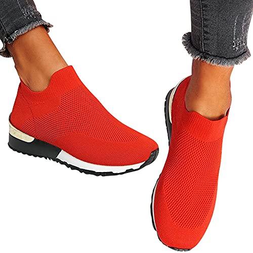 QBAMTX Zapatos Sin Cordones para Mujer Calzado Deportivo Casual Calzado Transpirable Zapatillas De Verano...