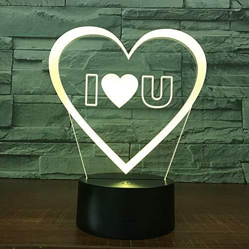 Love Heart 3D Led Illusion d'optique Smart Night Light , 7 couleurs changeantes USB Power Touch Switch Decor Lamp Table de chevet Lampe de bureau Brithday Christmas Gift for Kids