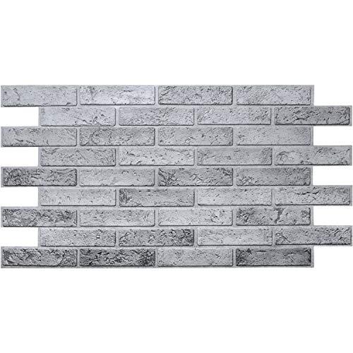 Paneles de pared de PVC 3D, revestimiento decorativo, ladrillo gris, 10 unidades, 4,8 m²