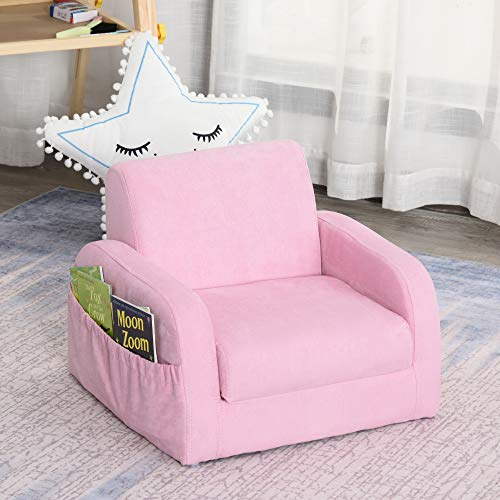 HOMCOM 2 In 1 Kids Children Sofa Chair Bed Folding Couch Soft Flannel Foam Toddler Furniture for Playroom Bedroom Living Room Pink