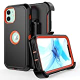 Compatible with iPhone 12 Case, iPhone 12 Pro Case,Heavy Duty Hard Shockproof Armor Protector Case Cover with Belt Clip Holster for Apple iPhone 12 6.1 2020 Phone Case (Black+Orange)