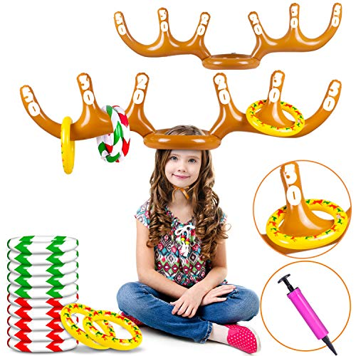 Christmas Inflatable Reindeer Antler Hat Ring Toss Game, 2 Pack with 12 Rings Christmas Party Games Toys for Kids Adults, Party Favor Family Game Indoor Outdoor Toys (Handle Pump Included)