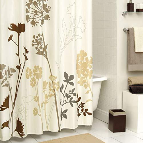DS CURTAIN Duschvorhang aus Polyester-Mikrofaserstoff, Blumen-Design, bedruckt, wasserdicht, Blättermuster, 183 x 198 cm, Braun