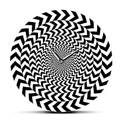 Xinxin Wall Clocks Spiral Geometric Optical Illusion Modern Wall Clock Hypnotic Black and White 3D Vision Wall Clock Silent Sweep Abstract Wall Art Meet All Your Decoration Need