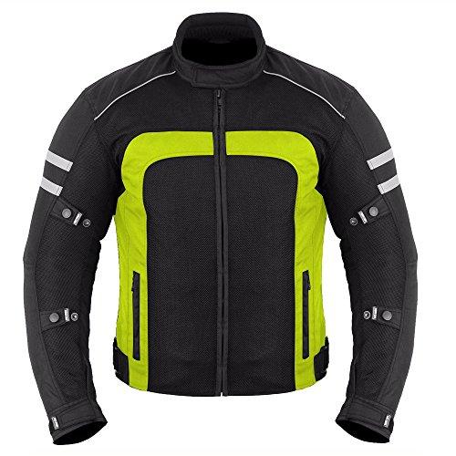 Motorrad-Sommerjacke - Reiter Motorradjacke Hochwertiges Mesh-Gewebe für heiße Wettergänge mit CE-zugelassenen Rüstungen für Herren - Hiviz Small