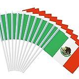 Anley Mexikanische 5x8 Zoll Handheld Mini Flagge mit 12' weißem, festem Mast - Mexiko Stick Flagge, lebendige Farbe und lichtecht - 5 x 8 Zoll Handgehaltene Stick Flaggen mit Speerspitze (1...
