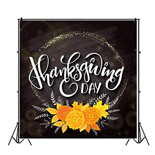 Leowefowa Happy Thanksgiving Day Backdrop 5x5ft Cartoon Orange Flower Garland Illustration Black Vinyl Photography Background Child Baby Photo Shoot Event Activities Photo Props Wallpaper