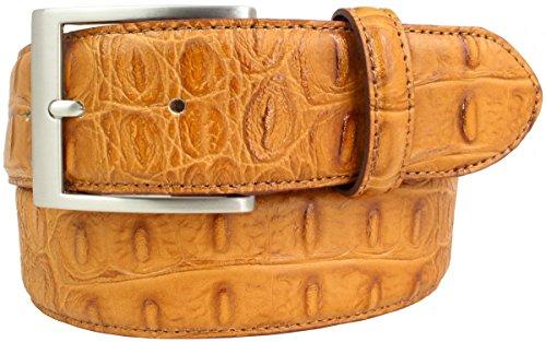Gürtel mit Krokoprägung 4,0 cm | Leder-Gürtel für Damen Herren 40mm Kroko-Optik | In Schwarz Braun Blau Rot Kroko-Muster 4cm Schnalle Silber