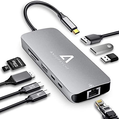 USB C HUB 9 in 1 USB C AdapterTragbarer Platz Aluminium mit 4K HDMI 3*USB 3.0 100W PD SD/TF Kartenleser und RJ45 Gigabit Ethernet LAN, Kartenleser fr MacBook, Huawei, Chromebook und Mehr Type-C Geräte