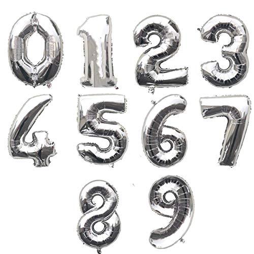 ZCENTER Globo Número Gigante en Metalizado Ideal para Fiesta de cumpleaños y Aniversarios - 110 cm - Hinchable (Plata, 8)