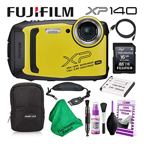 Fujifilm FinePix XP140 (600020657) Waterproof Digital Camera (Yellow) Budget-Friendly Camera Accessory Bundle Includes Camera Cleaning Kit, Zippered Carrying Case, and Lots More