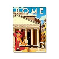ポスターと版画ローマ風景旅行ヴィンテージ写真キャンバスポスターと版画HDプリント油絵壁画リビングルーム家の装飾フレームレス絵画