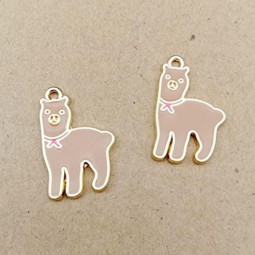 LLBBSS 10 Piezas 25X17Mm Metal Esmalte Alpaca Lama Alpacos Hierba Barro Caballo Encantos Pulsera Colgantes Pendiente De Aleación Que Hace Accesorios