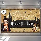 Botikit Happy Birthday Banner Backdrop, Magic Wizard Movie Birthday Banner, Bday Party Decorations,...