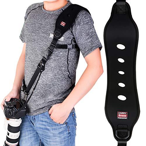 Coolwill Tracolla per Fotocamera Professionale ad Azione Rapida, con Clip Quick Release e Funzione di Sicurezza, Sistema Quick-Lock, Fino a 15 kg Nero