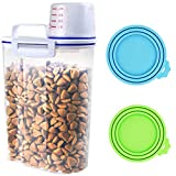 Pet Food Storage Container, Airtight Small Dog Food Container Cat Food Container with Measuring Cup, 4 Seal Buckles Food Dispenser for 3.5 Pounds of Pets Food Birds Seed, and 2 Pack Pet Food Can Cover