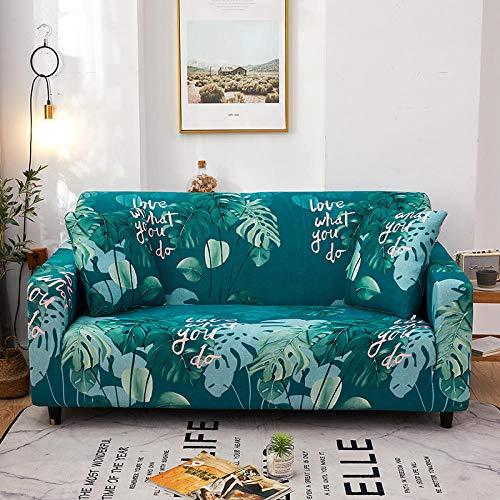 Funda de Sofá Elástica Funda Sofá Gruesa Antideslizante, Cubierta Sofa Muebles con Cuerda de Fijación Antideslizante Protector de Muebles (Hojas de impresión, Gris Azulado, 2 Plazas )