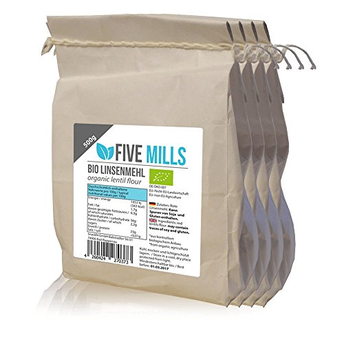 BIO Rote Linsen Mehl 4x500g - ideal zum vegane Eiweißbrot, Eiweißnudeln und Eiweißkekse selber machen - geeignet für eine SLOW CARB Diät - 23% Eiweiß unterstützen beim Muskelaufbau und Muskelerhalt