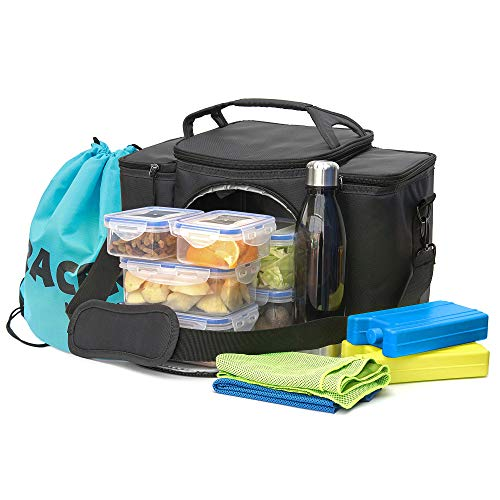 TRACERY Multifuction Gym Bag Combo with Ice Block, Food Container, Sports Towels, Bottle, Drawstring Bag (Black)