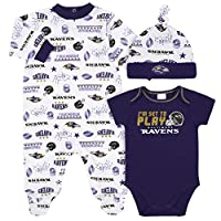 NFL Baltimore Ravens 3 Pack Bodysuit Sleep n Play Footie Cap Registry Gift Set, Blue/White Baltimore Ravens, 3-6M