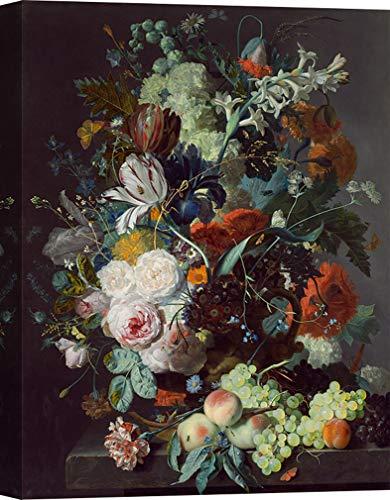 Art Print Cafe - kunstdruk op canvas - Jan Van Huysum, stilleven met bloemen en vruchten 70x50