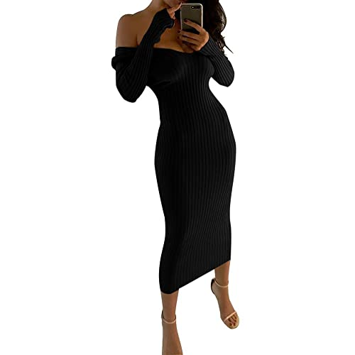 D-Sun Women s Solid Off Shoulder Long Sleeve Bodycon Sweater Dress Ribbed  Romper c423a8d80