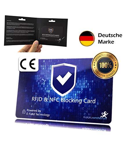 RFID Blocker NFC scheda per protezione carte di credito Una scheda che protegge tutto il portafogli dal furto di dati, non serviranno più le custodie RFID per le carte di credito e il bancomat, Blau (