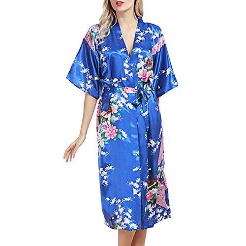 Sidiou Group Bata de Satén Vestido Kimono Largo Mujer Camisón Pijamas Ropa de Dormir Albornoz Saten (Azul Real, XXL)