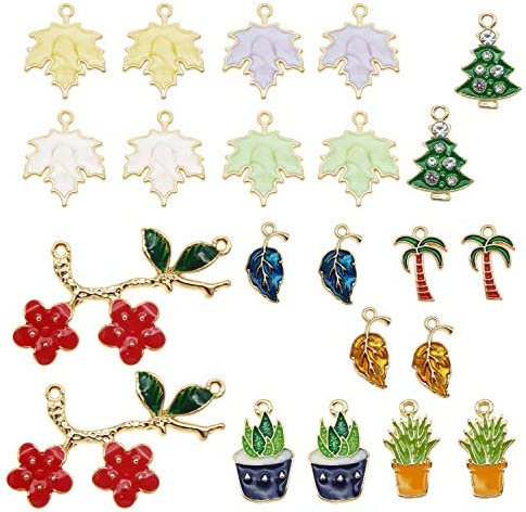 JJG 20pcs 10PAIRS Assorted Gold Plated Enamel Potted Flowers Leaf Dainty Dangle Plant Pendants product image