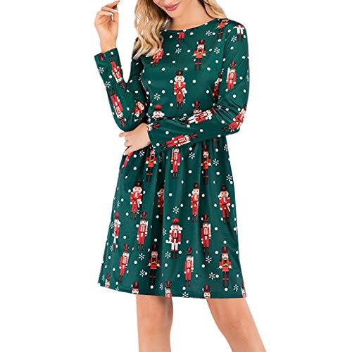 WINJIN Robe de Noël Pull Femmes Manches Longues Santa Impression Robes de Swing Party de Noël Automne-Hiver Mini Imprimé Manche Longue Costume Pullover Sweat-Shirt Robe Blouse Haut Tricot Tunique