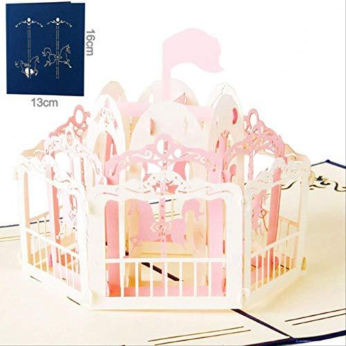 2 Piezas Talla Artesanal 3D Carrusel En Forma De Perinola Invitación De Papel Tarjeta De Felicitación Postal Niños Regalo De Cumpleaños Para Niños Cubierta Azul Rosa