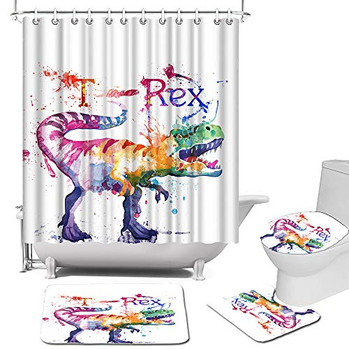 Animal Dinosaur Shower Curtain Sets with Rugs, Toilet Lid Cover and Bath Mat Watercolor Painting T-Rex Print